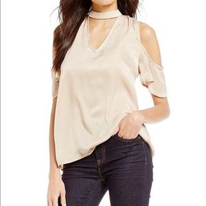 New with tags Blu Pepper Cold Shoulder choker Top